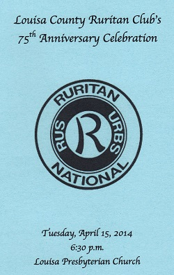 Louisa County Ruritan's 75th Anniversary program cover