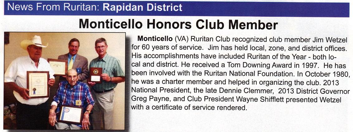 Monticello Club article in Ruritan Magazine Vol 79 Summer 2014