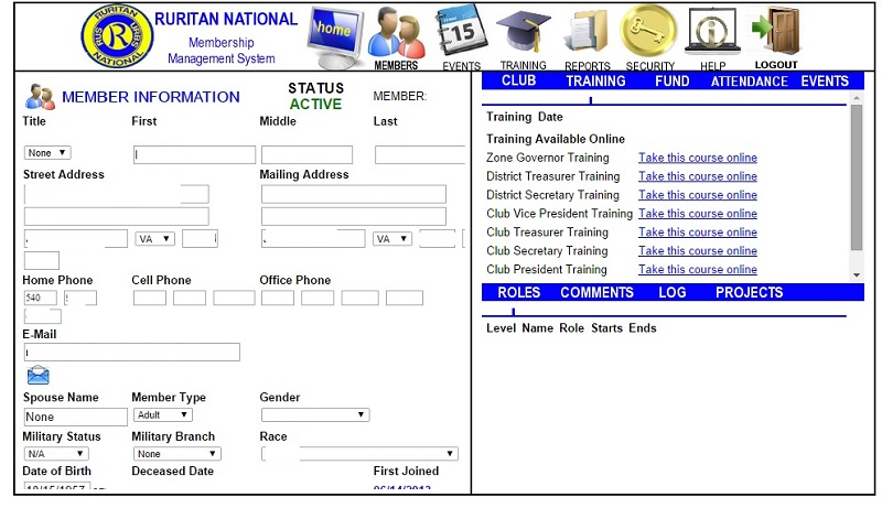 MMS training screen example