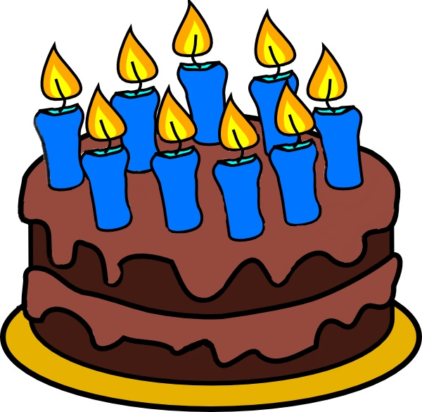 9 candle cake (free clip art)