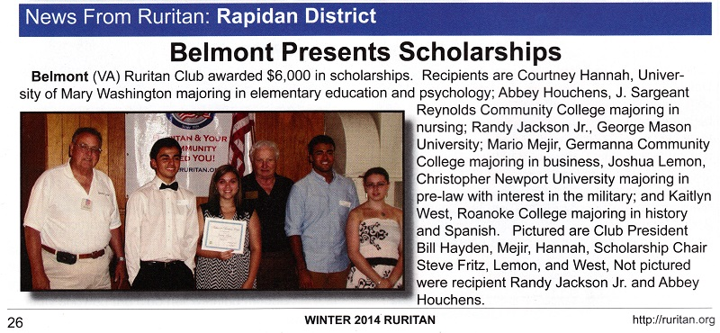 Article from Ruritan National Winter 2014 magazine about Belmont Ruritan Club