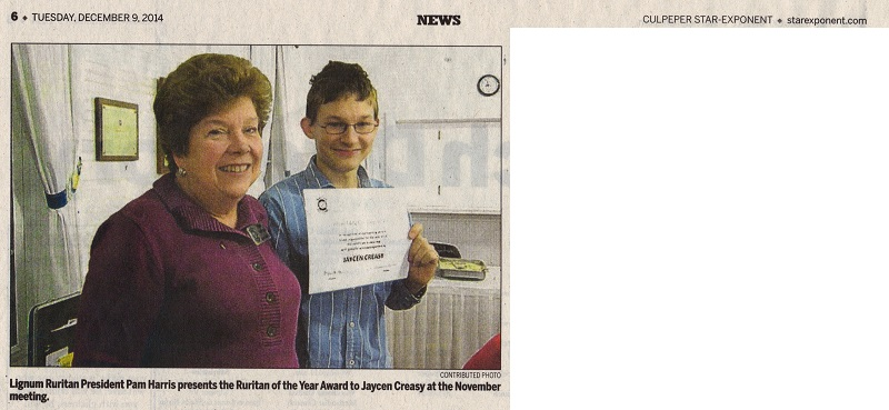 Jaycen Creasy Ruritan of the Year 2014 newspaper clipping