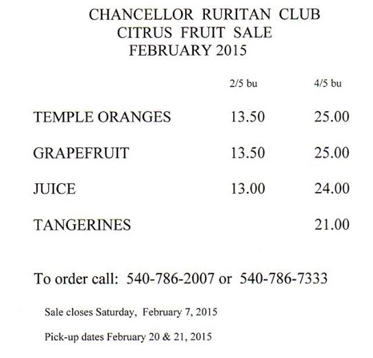 Chancellor Ruritan Fruit Sale Flyer January 2015