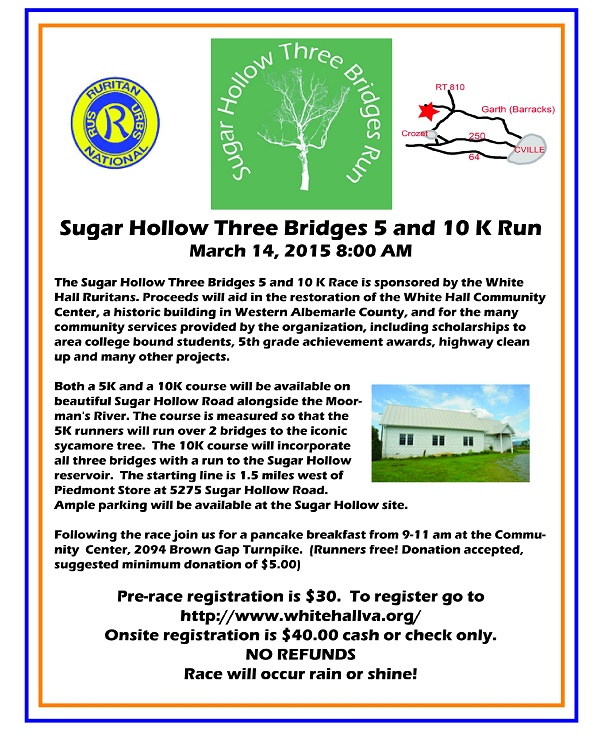 Sugar Hollow Three Bridges Run flyer