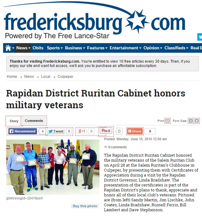 Salem Ruritan veterans Fredericksburg dot com article