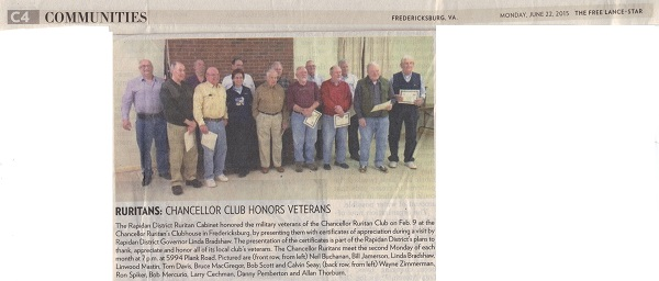 Freelance Star about Chancellor veterans article 6-22-15