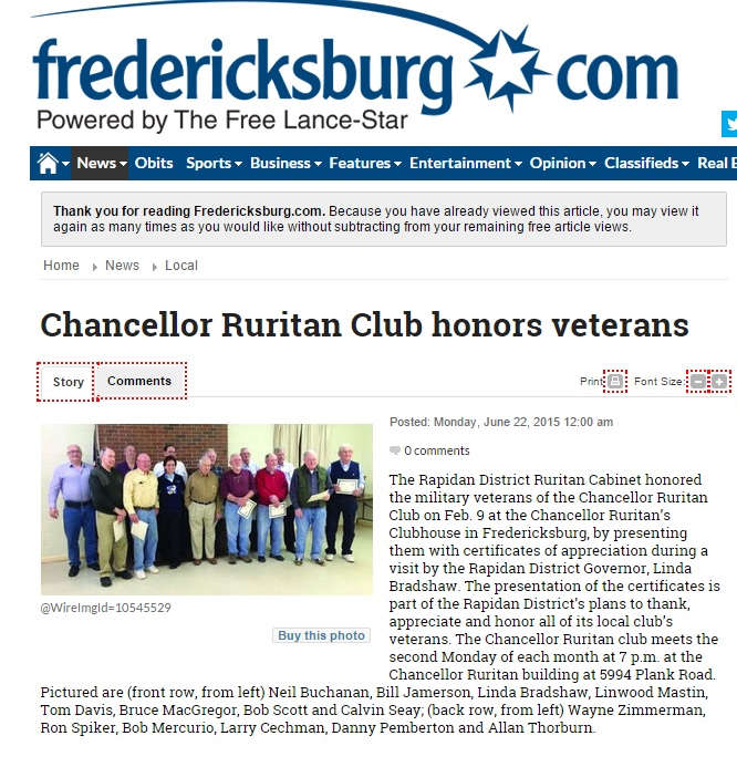 Story on Fredericksburg dot com about veterans 6-22-15