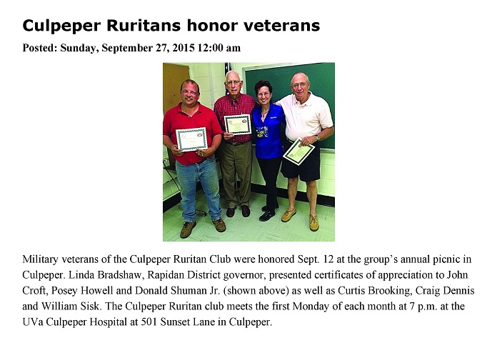 Culpeper Ruritan Veterans Mentioned in the Fredericksburg Free-Lance Star