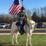 Forrest Whorton stands vigil to honor the Rapidan District's veterans with his horse, Zeke (photo credit Linda Bradshaw)