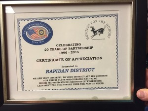 Certificate of Appreciation from Hunters for the Hungry (photo Linda Bradshaw)