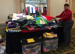 Irene Luck Delivers afghan blocks to National Convention (photo Linda Bradshaw)
