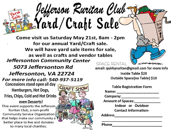 Yard Sale Flyer provided by Jefferson VA Ruritan Club