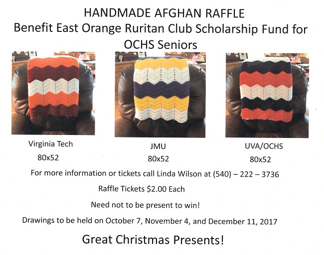 Afghan Raffle By East Orange Ruritan Club