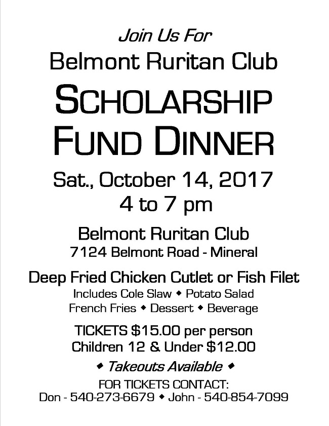 Belmont Ruritan Scholarship Fund-Raising Dinner @ Belmont Ruritan Club | Mineral | Virginia | United States