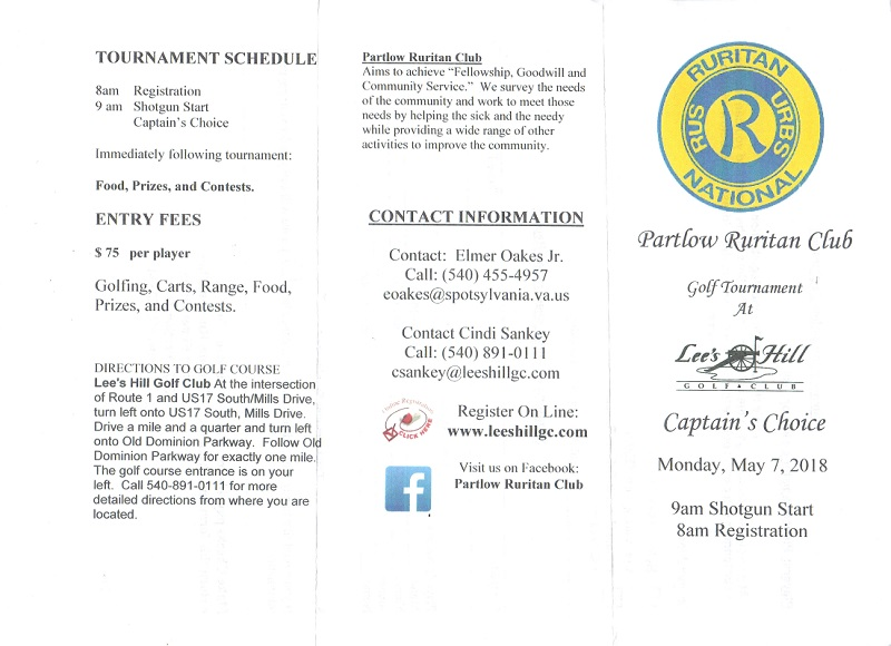 Partlow Ruritan Golf Tournament Details